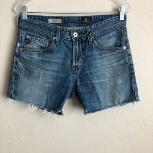 AG The Dylan Distressed Raw Hem Denim Shorts